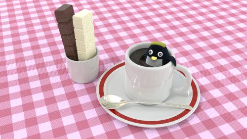 朝食のコーヒー風呂につかるペンギンと一本満足バー