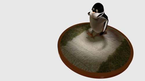 マスクをしてジョギングをするペンギンのCG