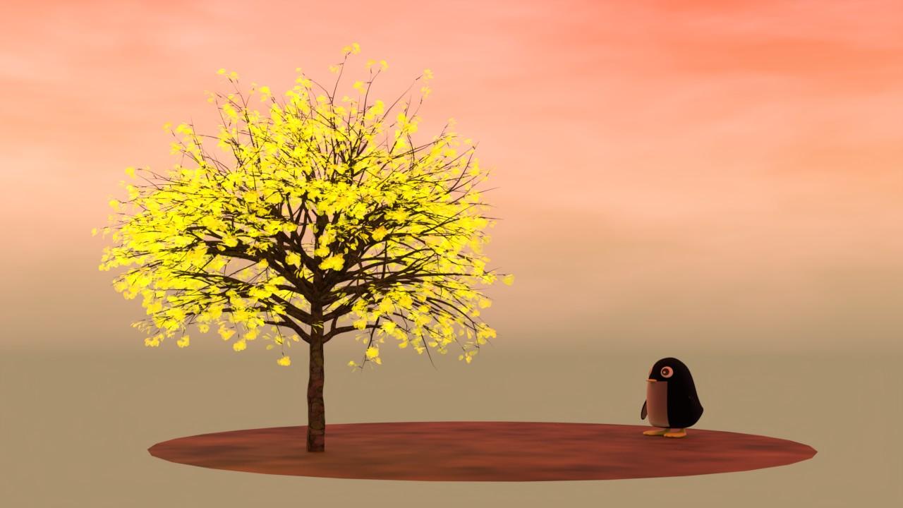 銀杏を見つめる夕暮れのペンギン