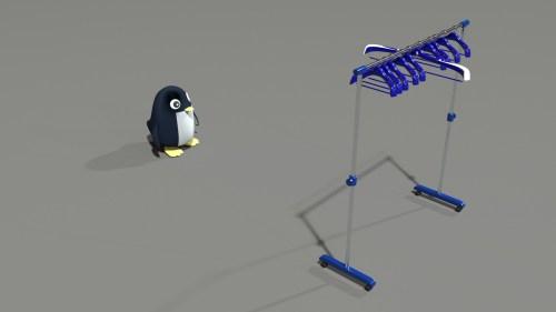 与田監督のハンガーを見つめるペンギン