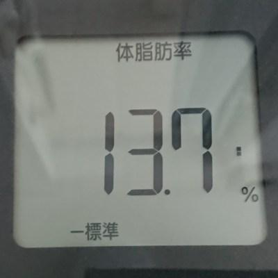 体脂肪率13.7%