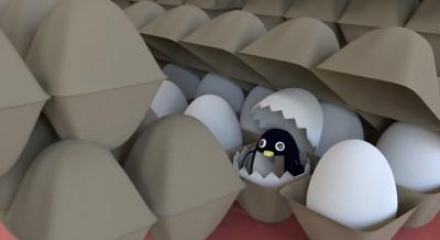 卵パックのなかのぺんぎんさん