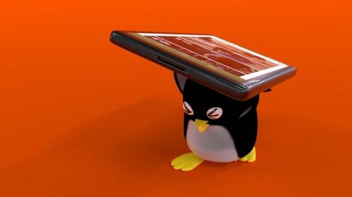 スマートフォンを担ぐペンギンさん
