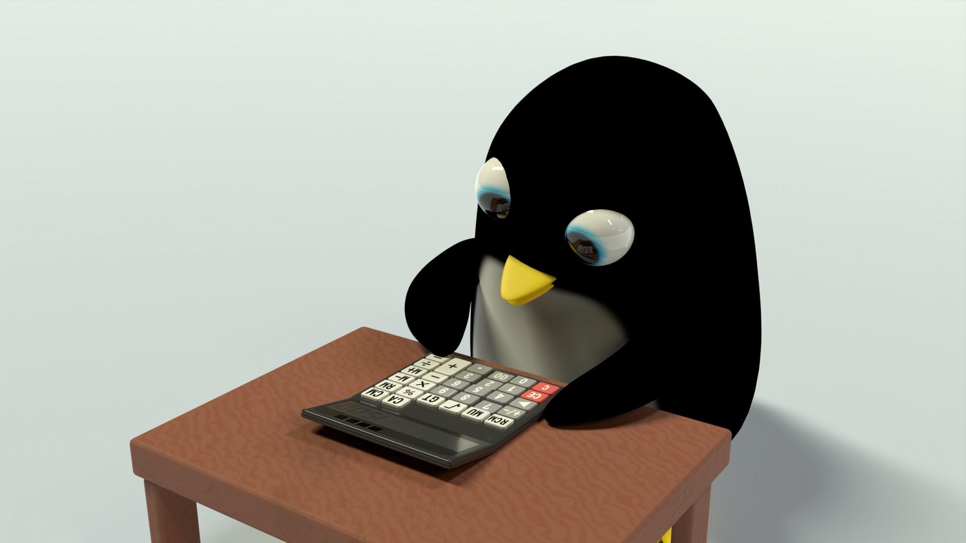 電卓で計算をするペンギンさん