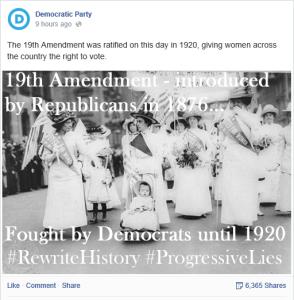 Democrat Party 19th Amendment FB posting meme