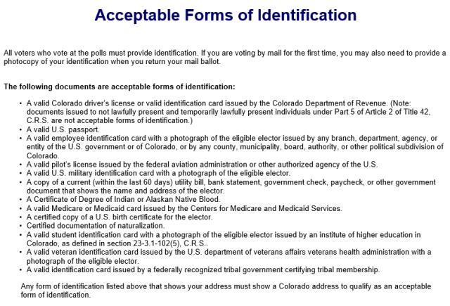 Colorado forms of ID