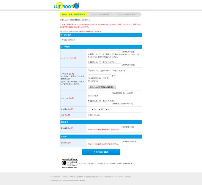 申込み情報入力 公衆無線LANサービス Wi2 300