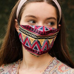 Zig Zag Embroidered Face Mask