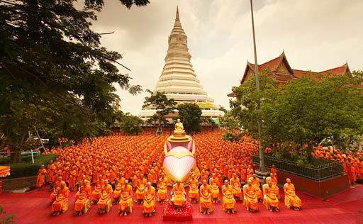 Monks assemble for Buddhist Ceremony