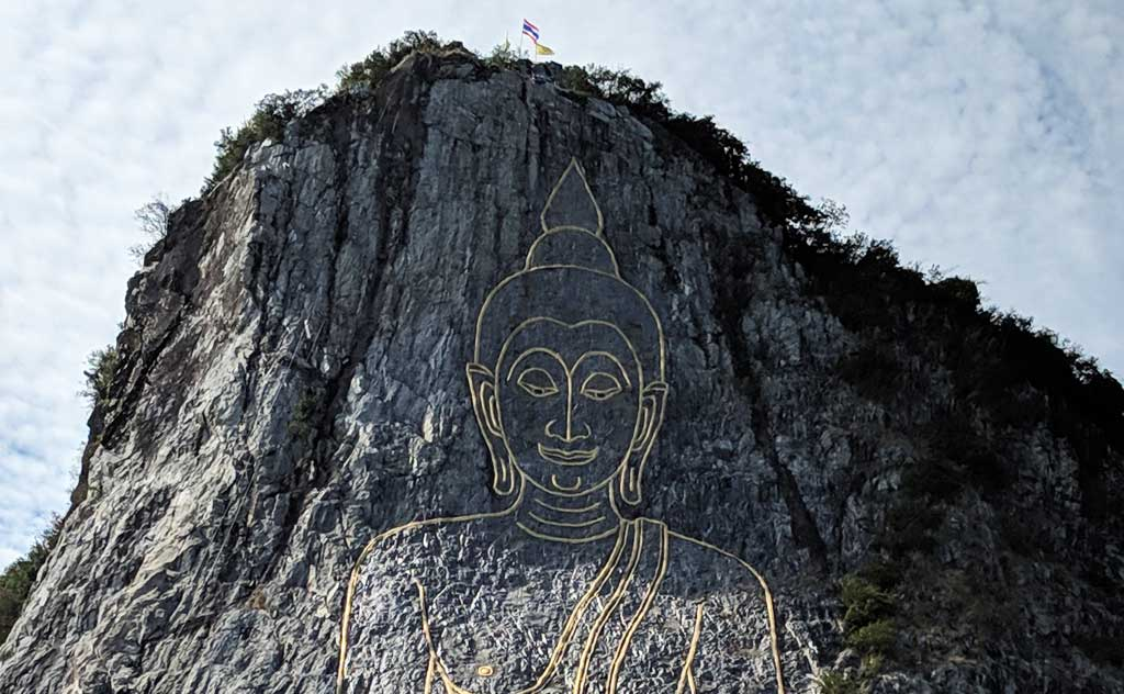 Face of Laser Buddha Image at Khao Chi Chan