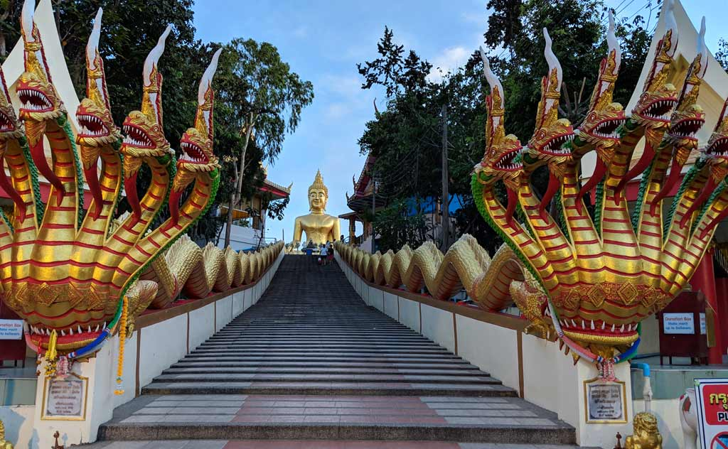 Steps leading to Wat Phra Yai Pattaya. Big Buddha in background