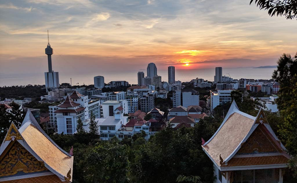 Sunset View of Pattaya from Wat Phri Yai