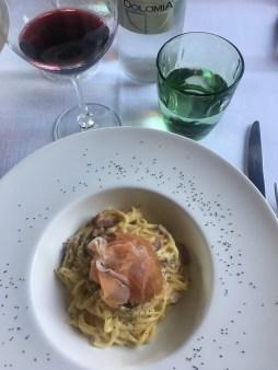 Typical Tagliolini with San Daniele prosciutto.