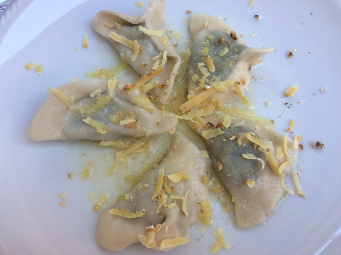 Homemade ravioli stuffed with ricotta cheese and sprinkled with walnuts and a type of grated smoked cheese.