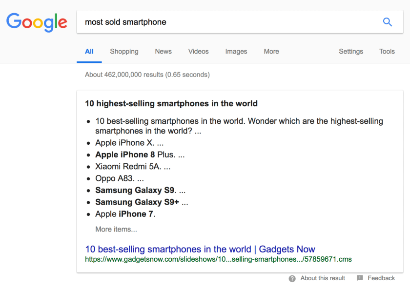 'most sold smartphone' voice search Google result