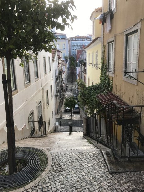 The hilly streets of the Lisbon city center
