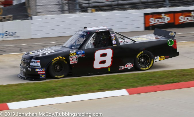 John Hunter Nemechek's No. 8 Unsponsored Chevrolet Silverado (Photo Credit: Jonathan McCoy / RubbingsRacing.com)