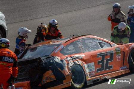 Corey LaJoie's race comes to an end after his second crash of the afternoon. Photo Credit: Caleb Pifer / TobyChristie.com