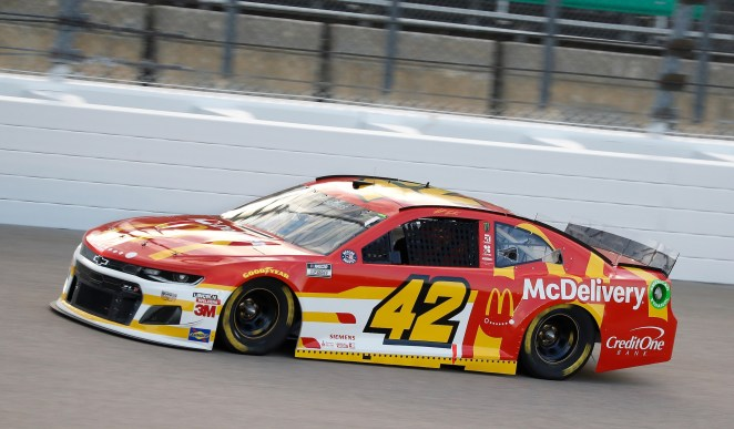 Matt Kenseth, driver of the #42 McDelivery Chevrolet Camaro ZL1 1LE, races to a 17th place finish Thursday, July 23, 2020 during the NASCAR Cup Series race at Kansas Speedway in Kansas City, Kansas. Drivers raced to empty Kansas Speedway spectator seats due to the COVID-19 pandemic. (Photo by Harold Hinson/HHP for Chevy Racing)