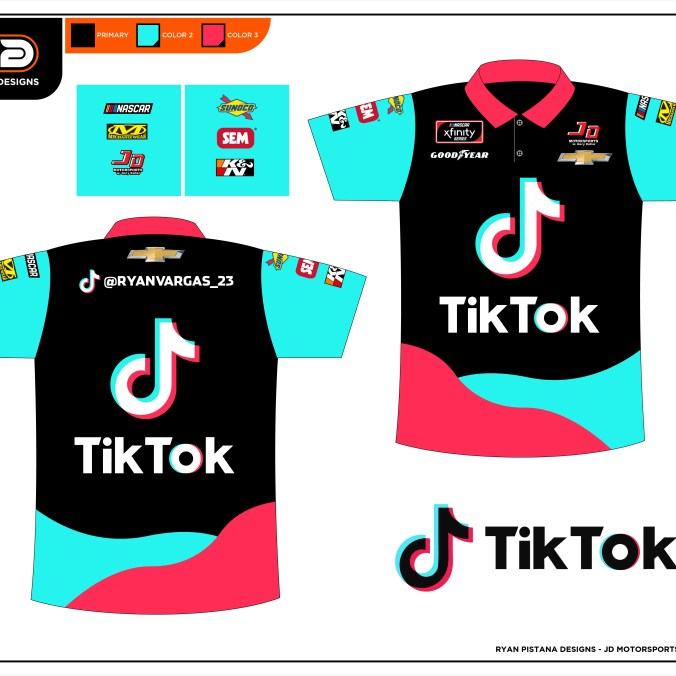 The matching pit shirts for Vargas and his team The TikTok firesuit that Ryan Vargas will adorn for the final six races of the season. (PC : Ryan Pistana)