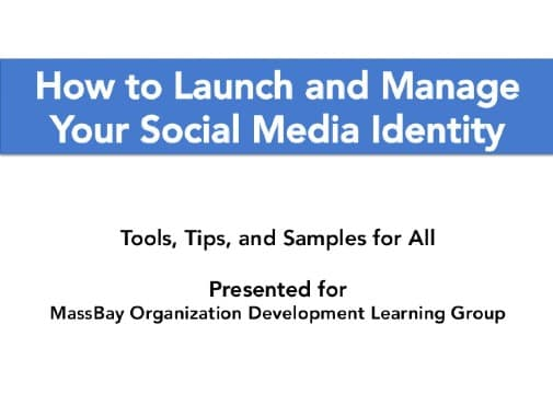 Launch and Manage Social Media, slide, cover, Toby Elwin, blog