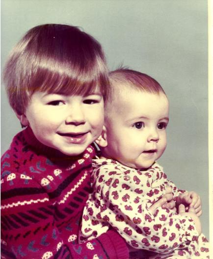 me and my brother aged 5 months and two and half