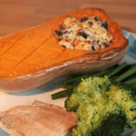 Recipe: Roasted butternut squash with mushroom stuffing