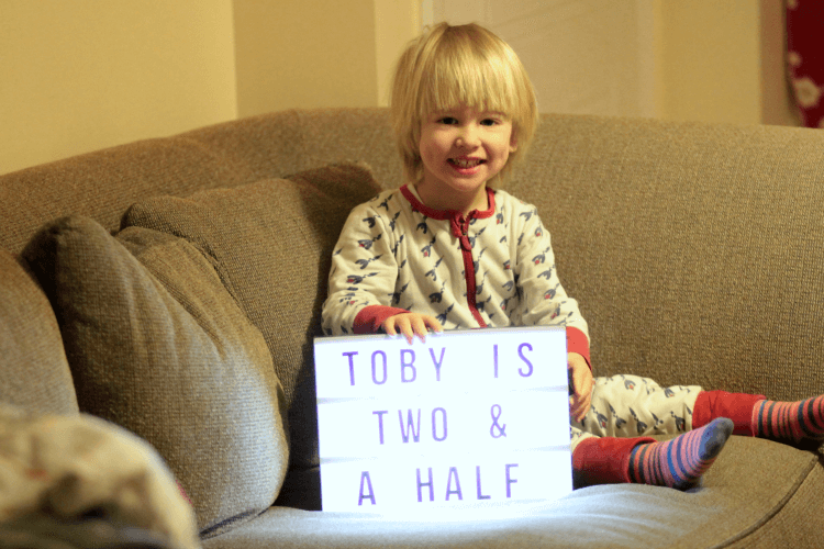Toby is two and a half