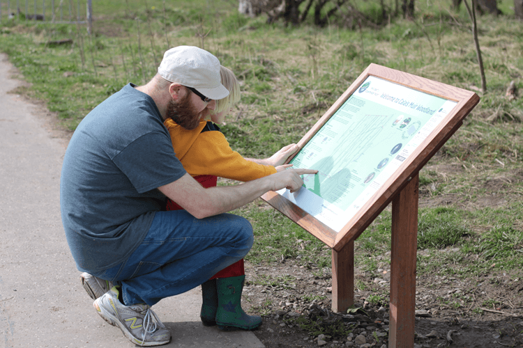 Looking at the map with daddy