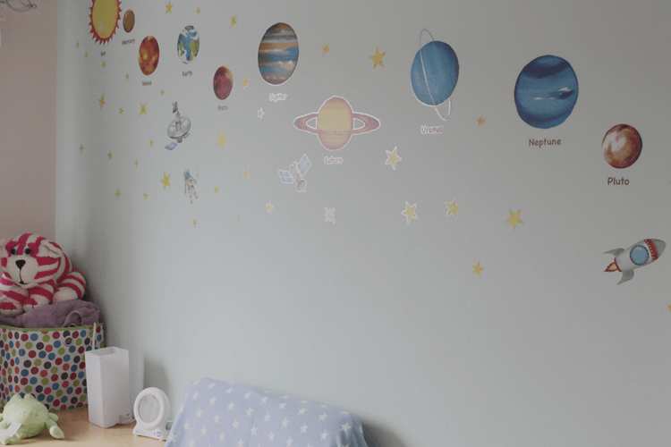 Solar system stickers in Toby's nursery