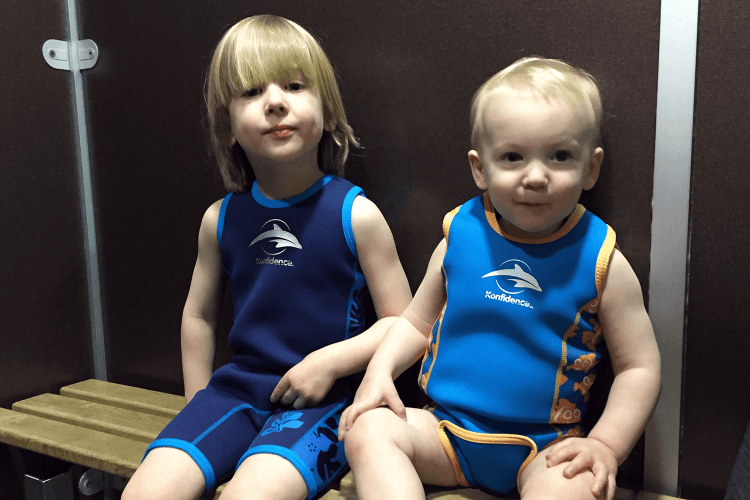 Toby and Gabe ready to go swimming in the Blue Lagoon