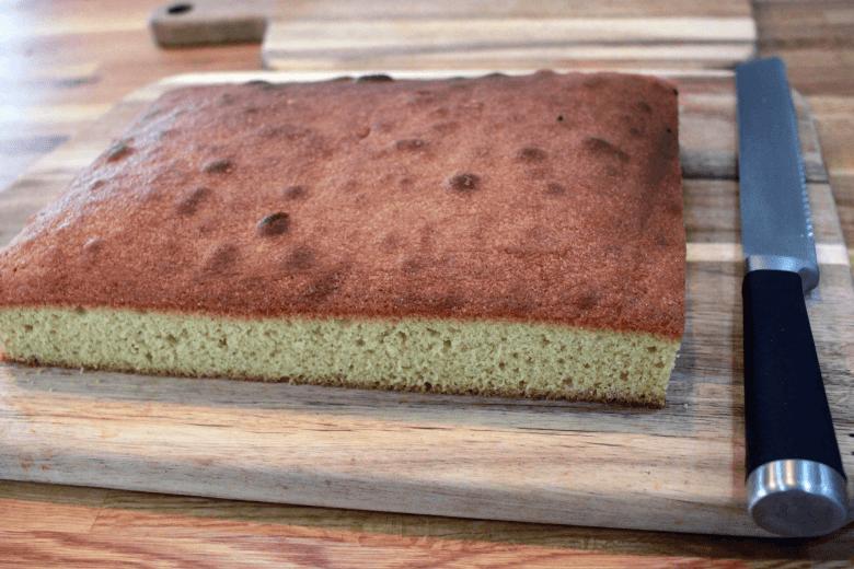 Trim the edges of the cake