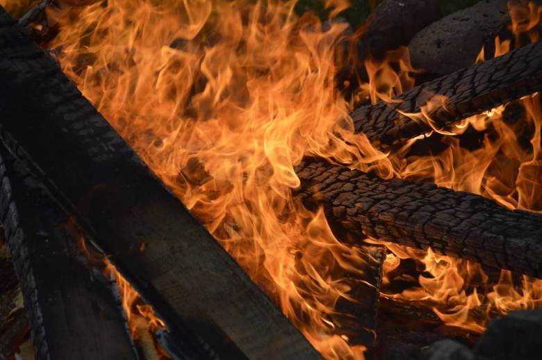 Logs on fire in an outdoor log burner