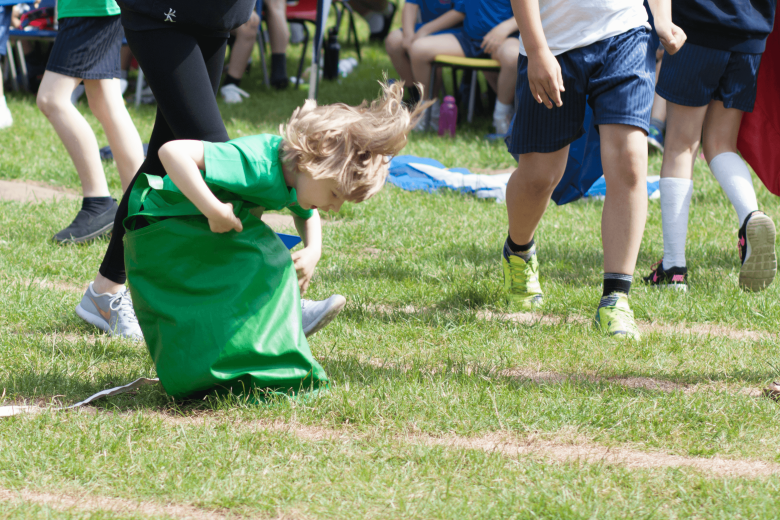 Toby crossing the line in the sack race