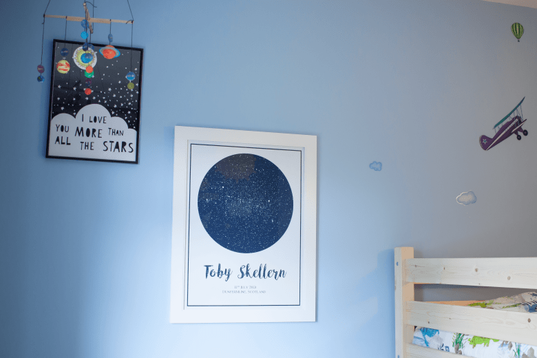 Prints on bedroom wall