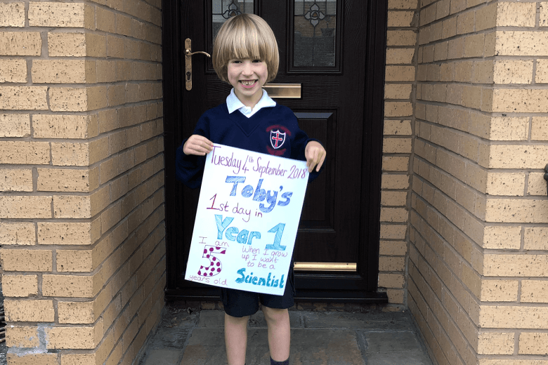 Toby on his first day in Year 1