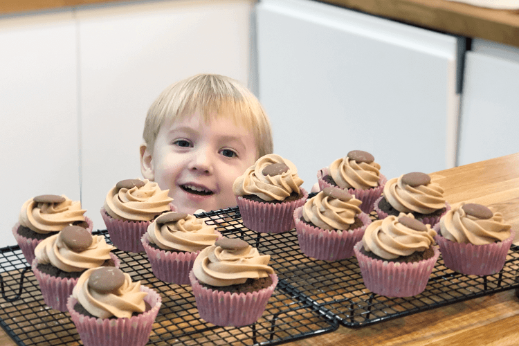 Gabe and his cupcakes