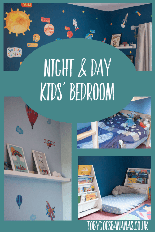 Night & day themed children's bedroom - my two boys share a room so we wanted something they would both like and would give them some individuality. #kidsroom #childsbedroom #spacebedroom