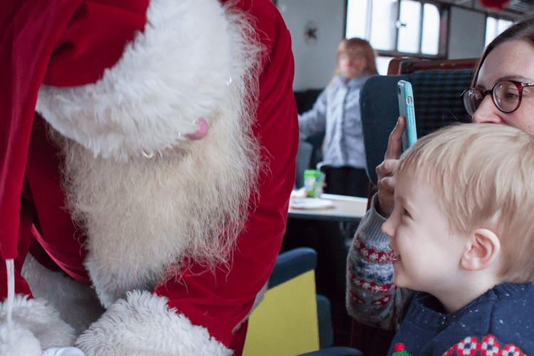 Gabe talking to Father Christmas on the Santa Special train