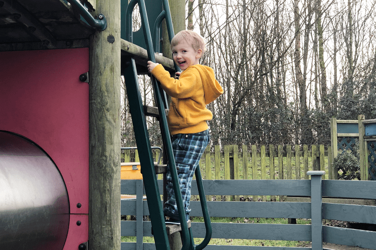 Gabe climbing a ladder in the Dobbie's play area