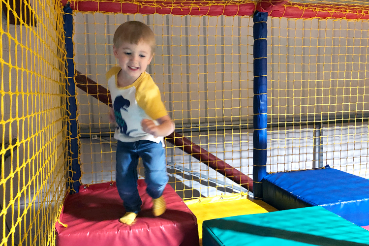 Gabe enjoying his first soft play party
