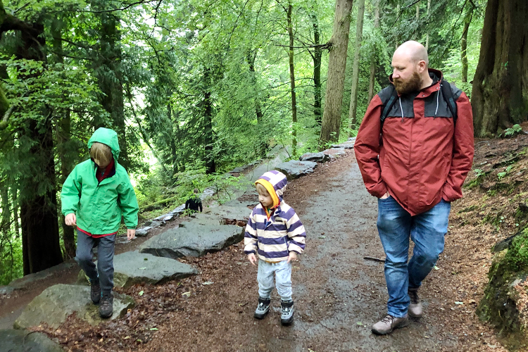 Daddy and the boys in the rain at Grizedale Forest in the Lake District