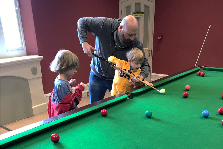 Playing snooker at Wray Castle