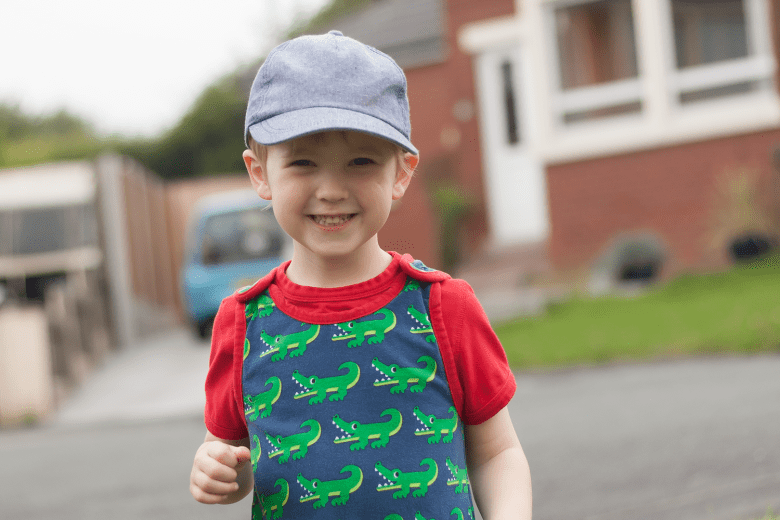 Gabe in his crocodile dungarees