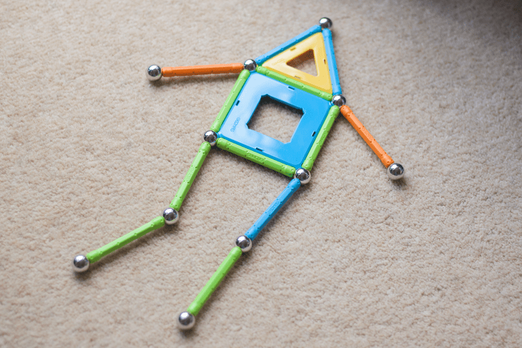 Gabe made a stick man from the Geomag magnetic STEM toy