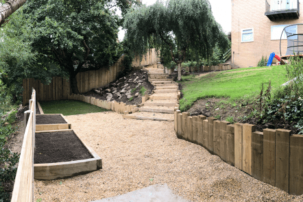 Sloped garden with gravel steps