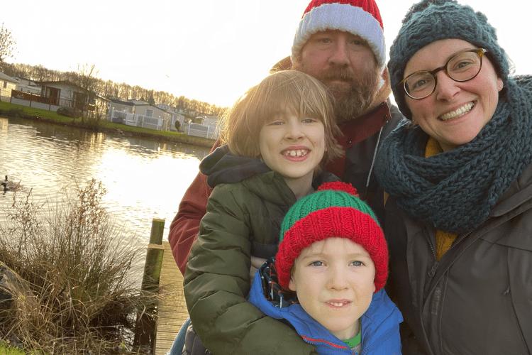 A family selfie on a winter walk