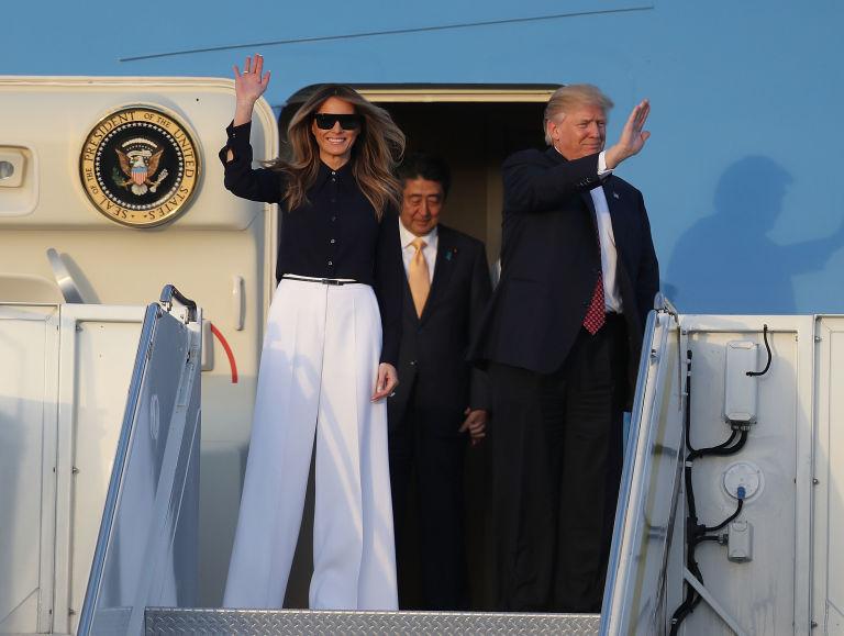 Melania and Donald Trump in Palm Beach.