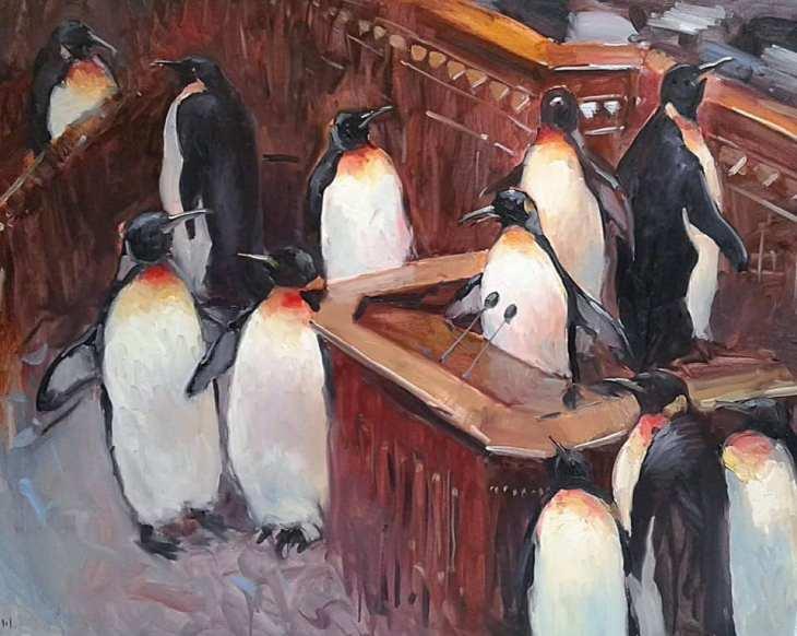 Украинские депутаты-пингвины в Раде, картина из офиса Зеленского\ фото Татьяна Костенко в Facebook.