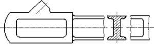 Рисунок 30 - Пример изображения вынесенного сечения, расположенного в разрыве между частями одного и того же вида